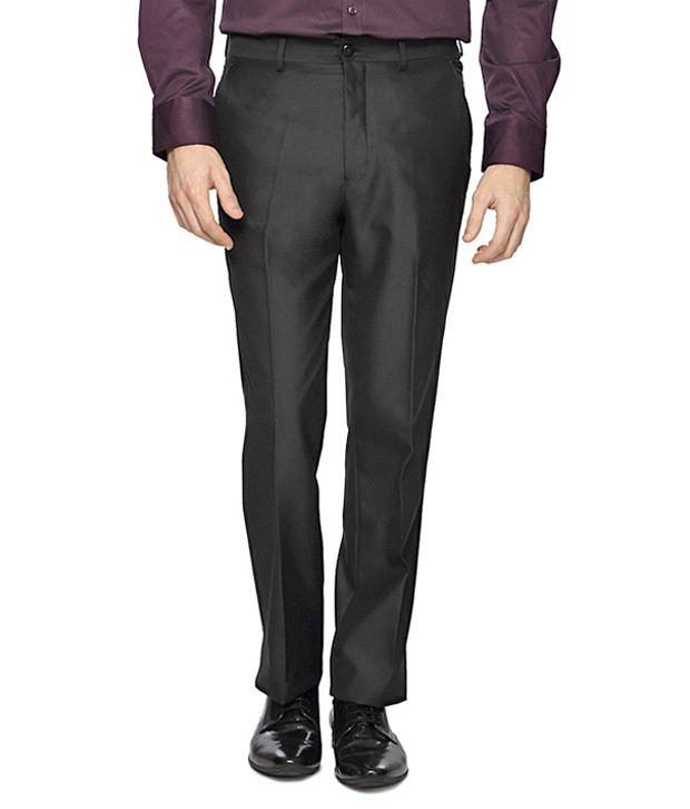 Van Heusen Black Textured Slim Fit Trousers