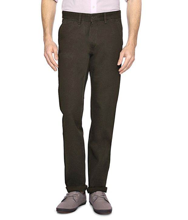 Van Heusen Brown Flat Front Trousers