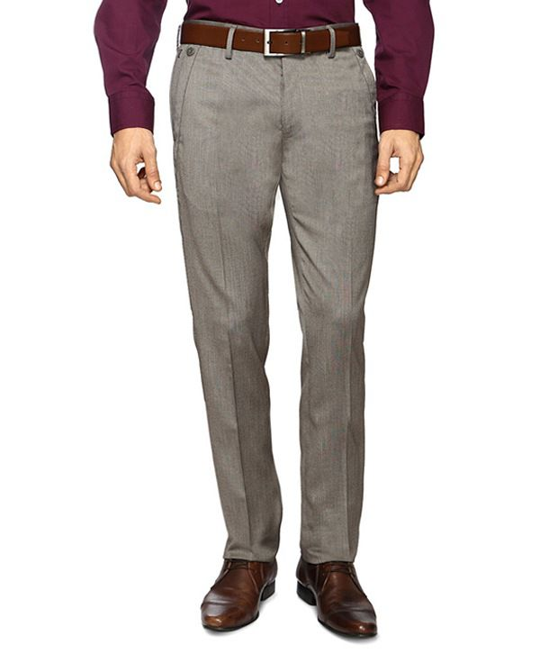 Van Heusen Khaki Formal Skinny Fit Trousers
