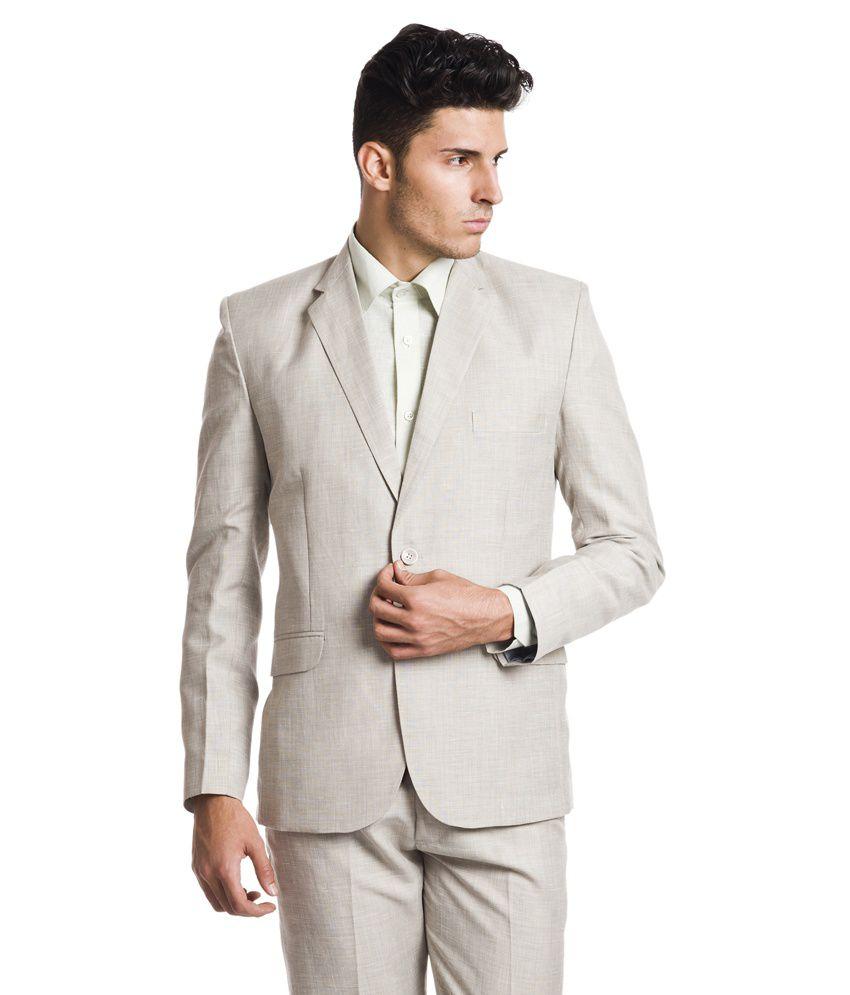 Wintage Beige Formal Linen Single Breasted Blazer