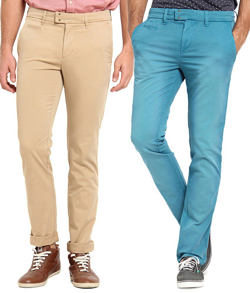 Offline Blue & Beige Cotton Lycra Slim Fit Chinos Pack of 2