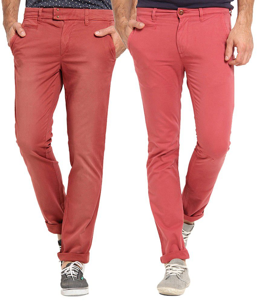 Offline Red Cotton Lycra Slim Fit Casual Chinos Pack of 2