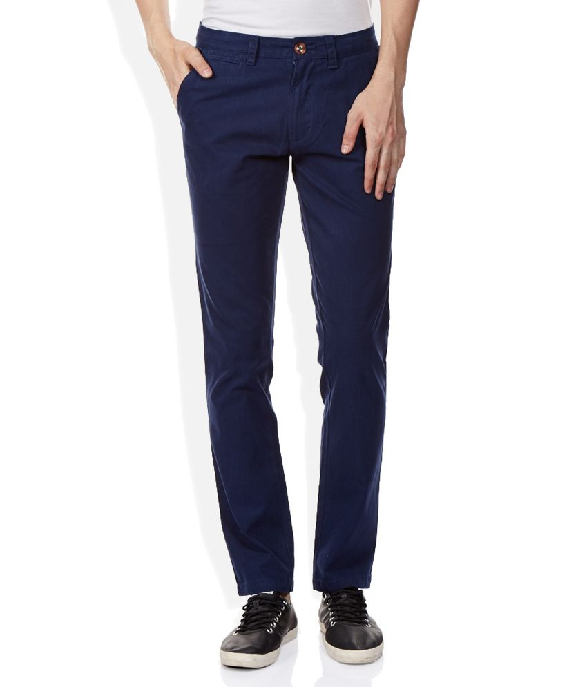 UCLA Blue Solid Flat Front Trousers