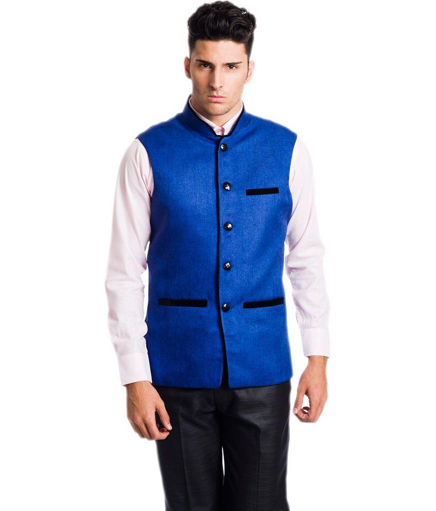 VS Blue Poly Blend Nehru Jacket