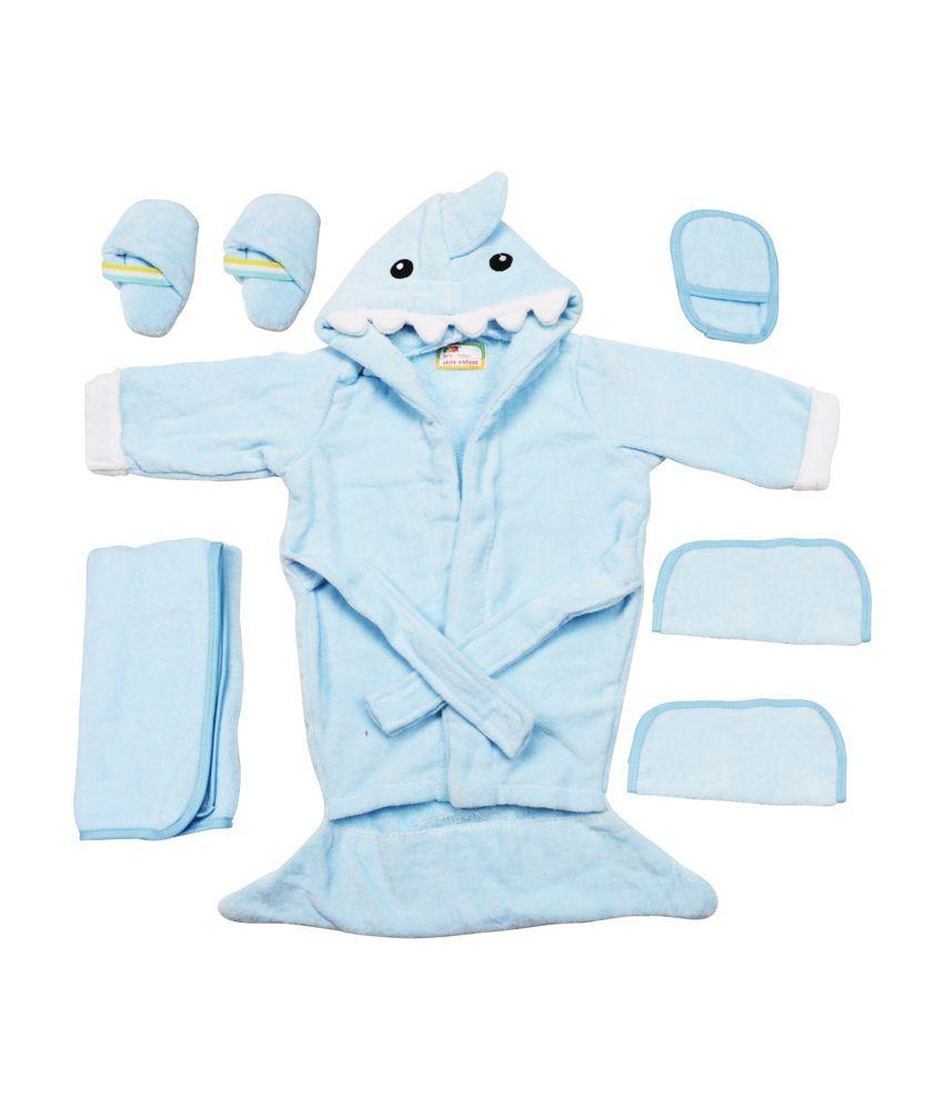 Belle Maison Blue Cotton Baby Bath Robe - Set Of 6 Pieces