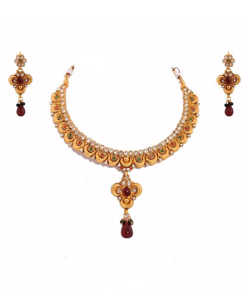Saraa Alloy Gold Plating Cubiz Zirconia Studded Multi Coloured Necklaces Set