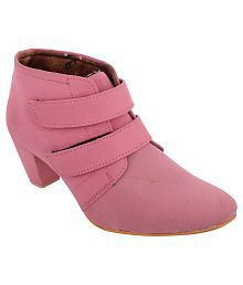 Exotique Pink Ankle Length Boots