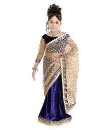 Pratima Multicolour Velvet Saree for Girls