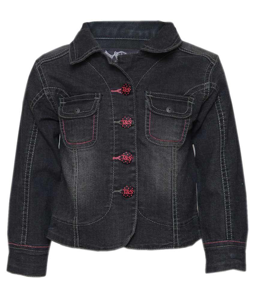 Tales & Stories Black Denim Jacket for Girls