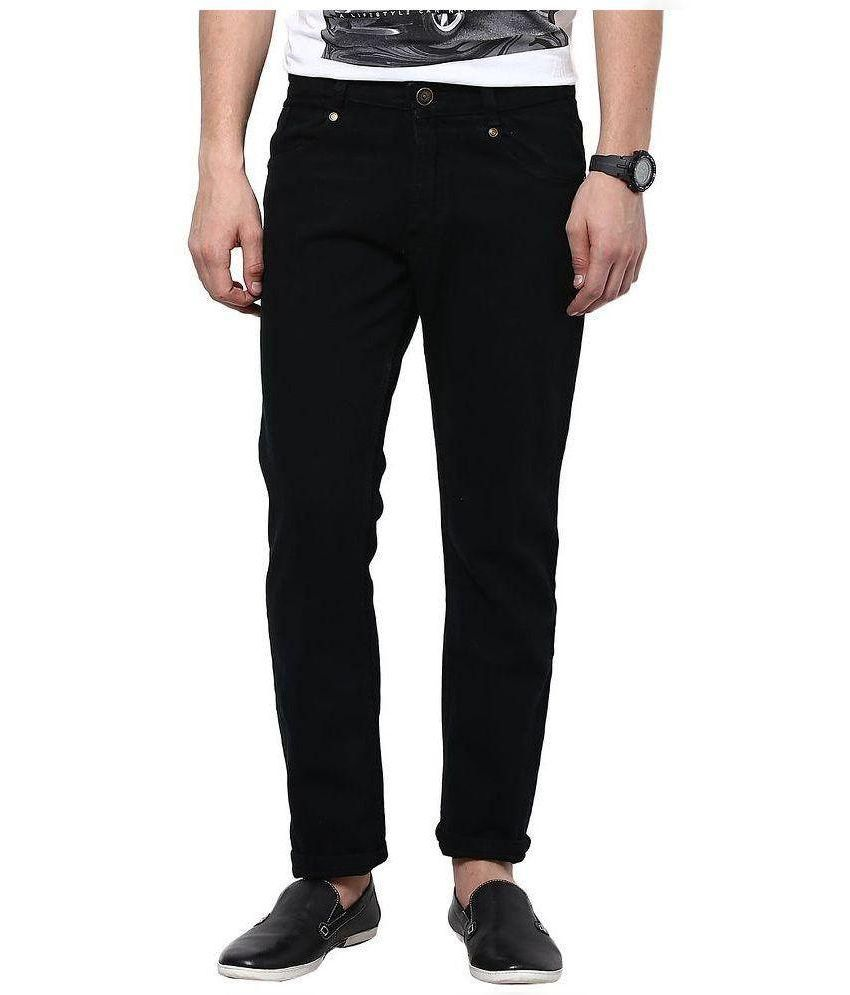 Fashion Deck Black Regular Fit Solid Jeans