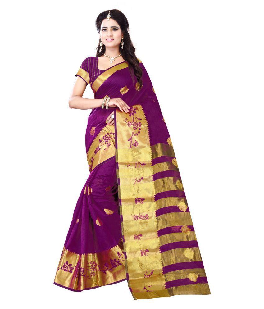 Sondarya Bandhani Purple Cotton Saree