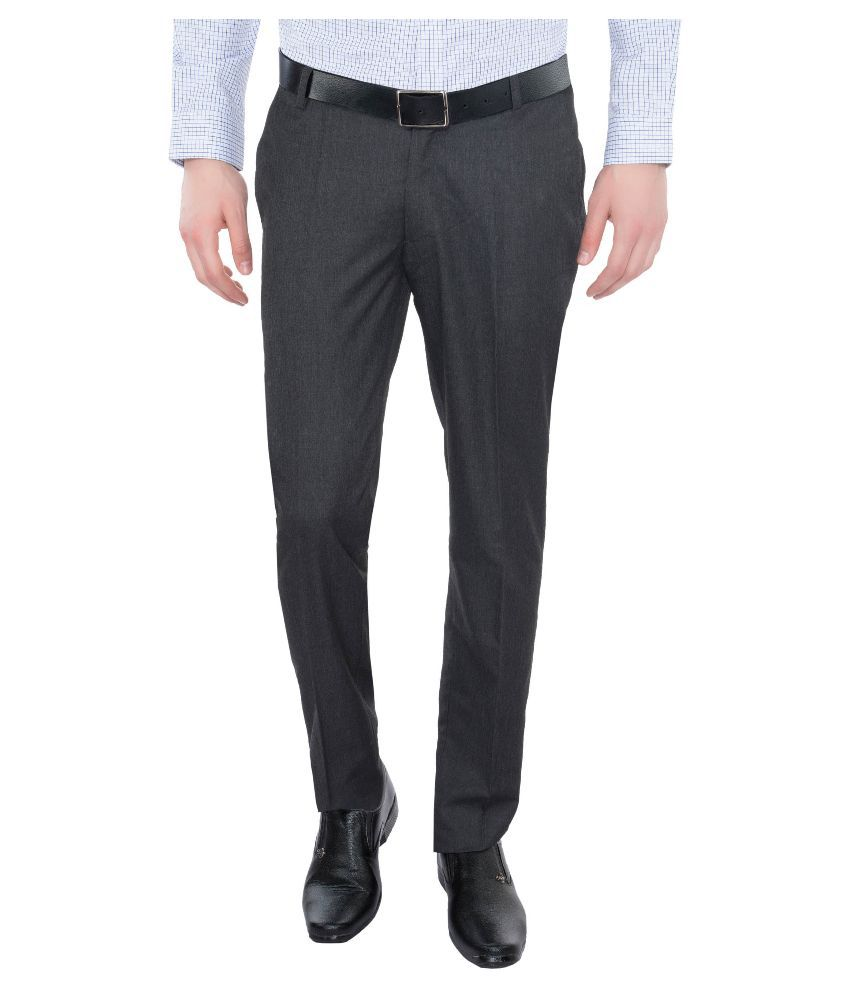 Vimal Black Slim Fit Flat Trousers