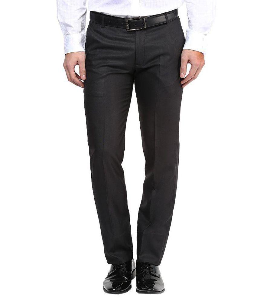 Bukkl Black Slim Flat Trousers