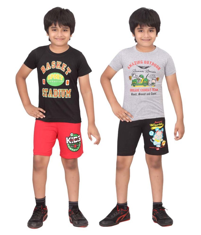 Dongli Multicolor T-Shirt And Shorts For Boys - Pack Of 2