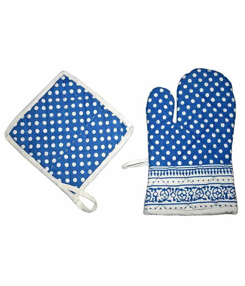 Sriam Blue Cotton Pot Holders - Set Of 2