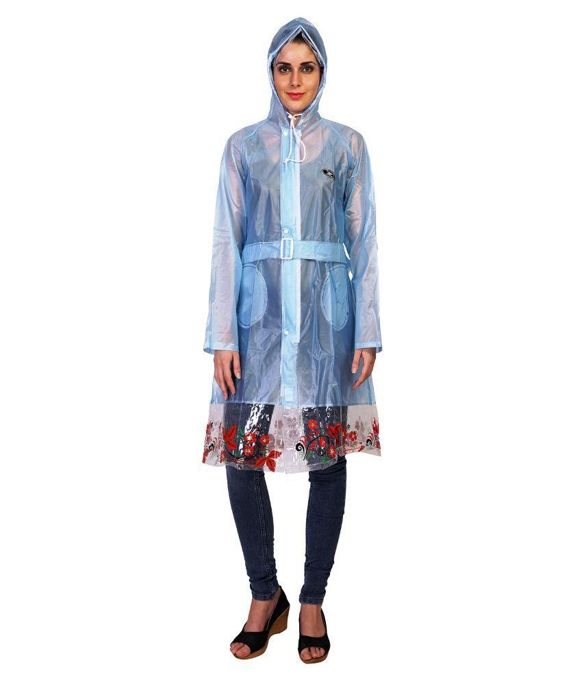 Zeel Blue Waterproof Long Raincoat