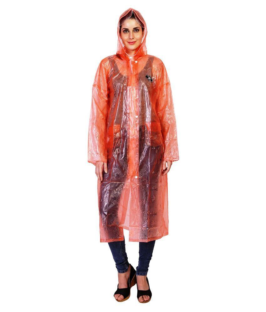 Zeel Orange Solid Raincoat  For Women