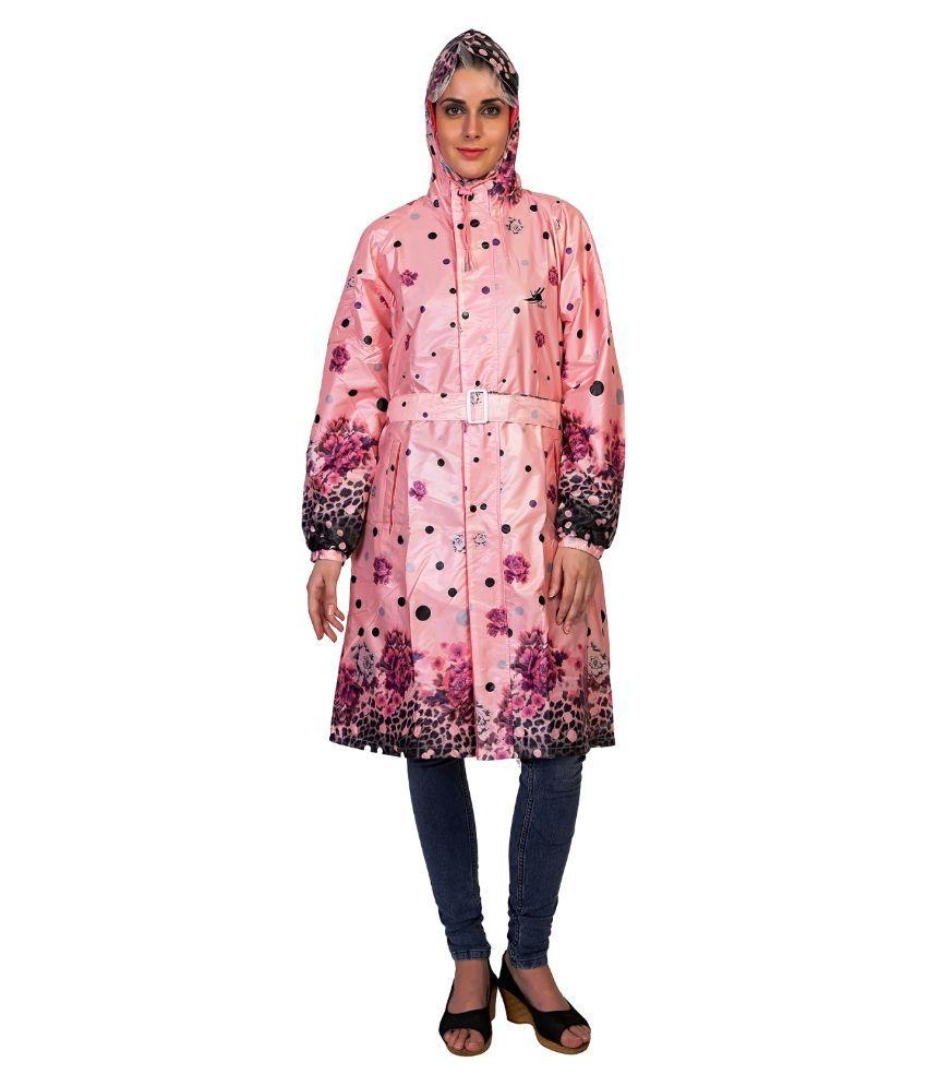 Zeel Pink Polyester Long Raincoat