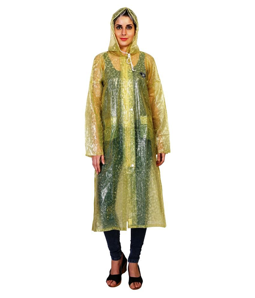 Zeel Yellow  Solid Raincoat  For Women