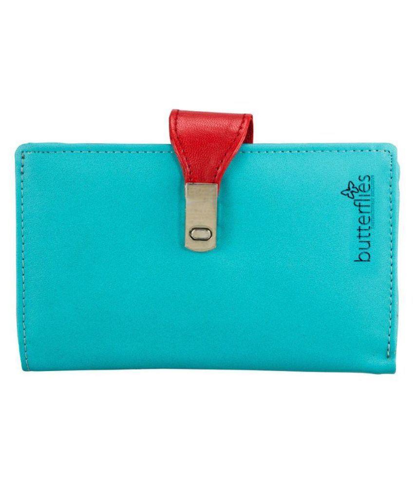 Butterflies Turquoise Solid Bi Fold Wallet