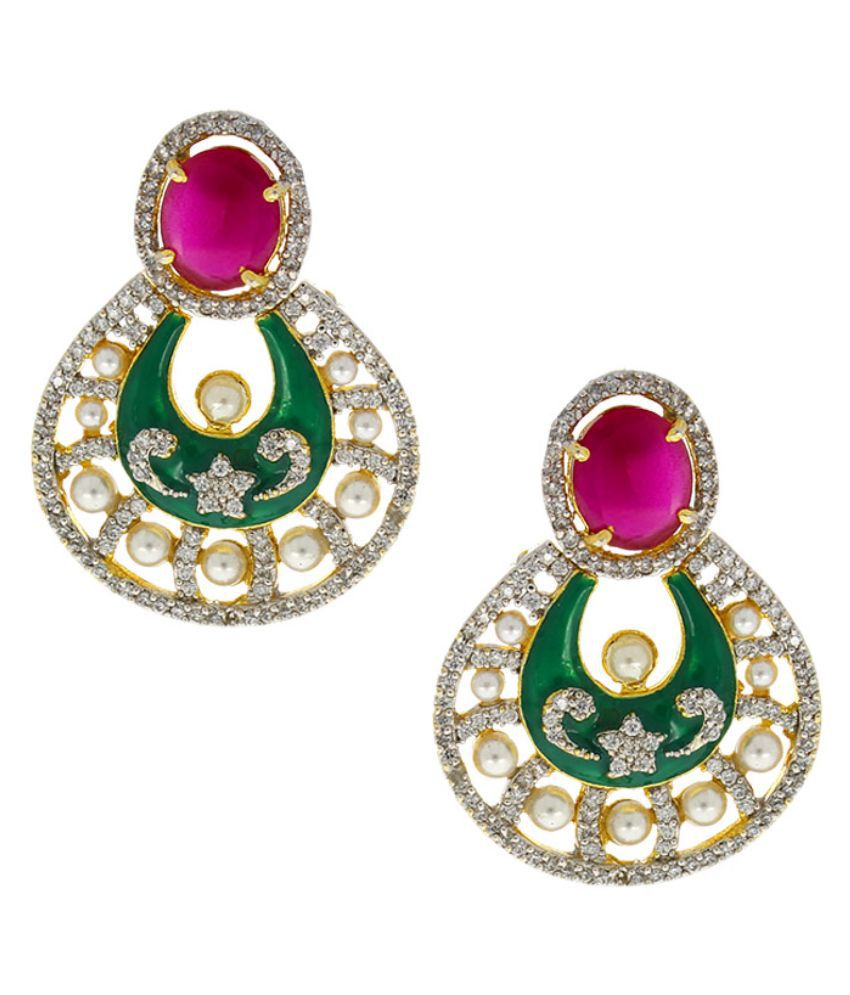 Anuradha Art Alloy Gold Plating American diamonds Studded Green Coloured Earrings