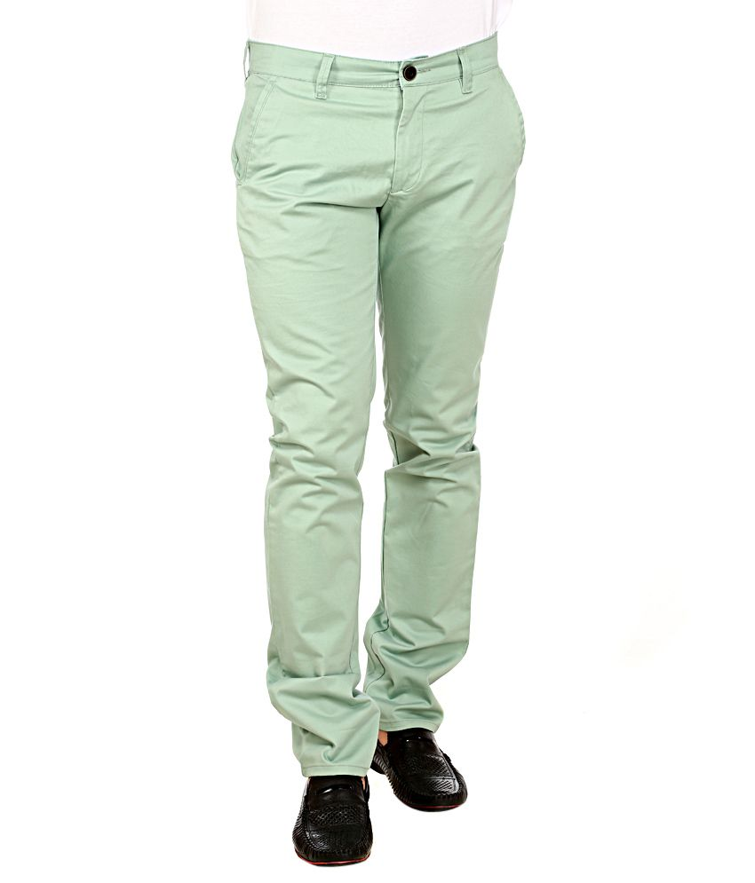 Red Tape Green Slim Fit Trousers
