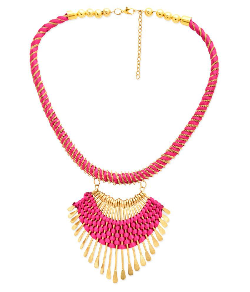 StarShop20 Fabric Studded Pink Coloured Necklace