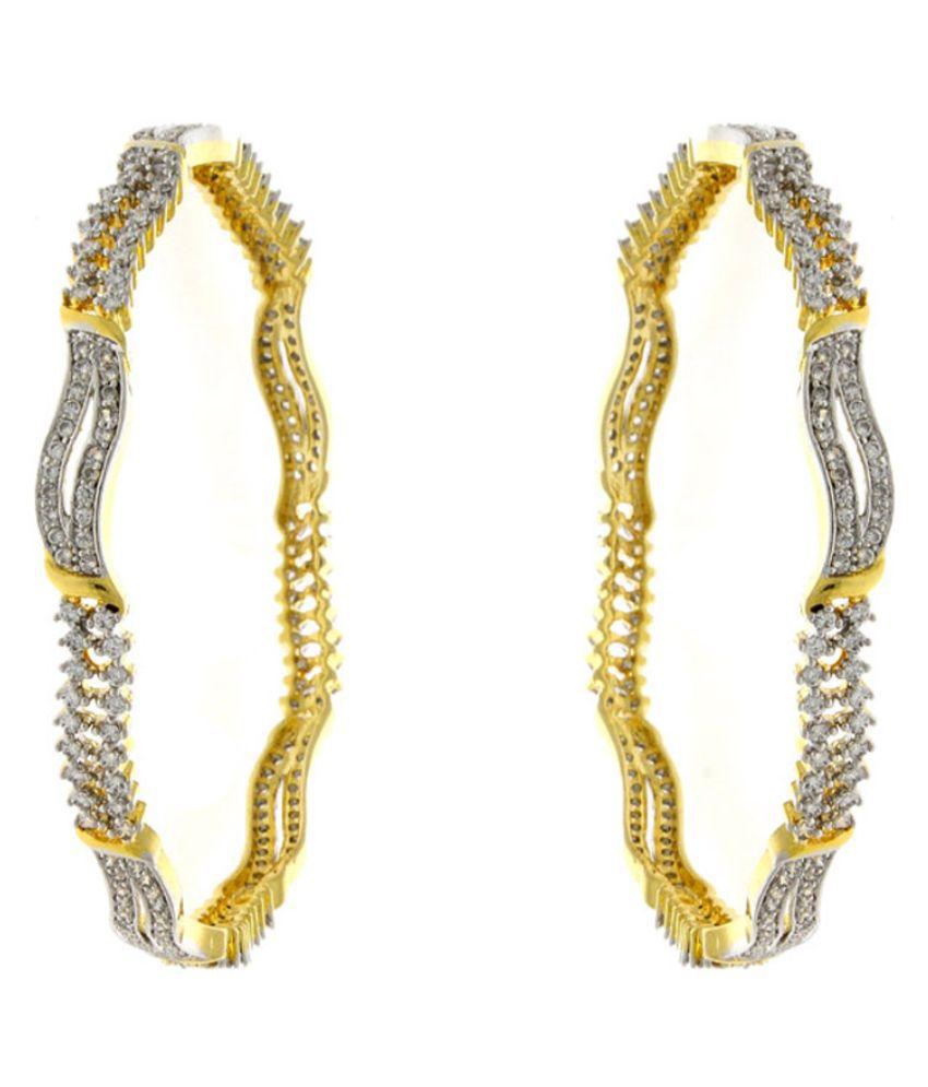 Anuradha Art Alloy Gold Plating American diamonds Studded Silver Coloured Bangle Set