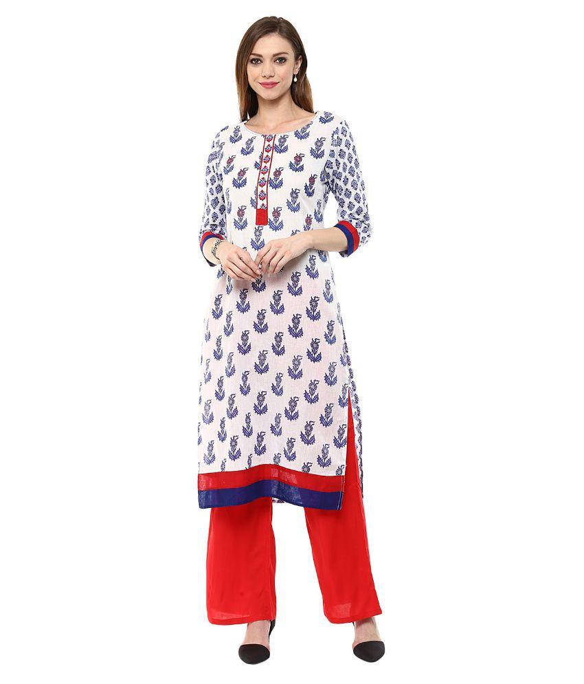 Jaipur Kurti White Cotton Straight Fit Stitched Suit