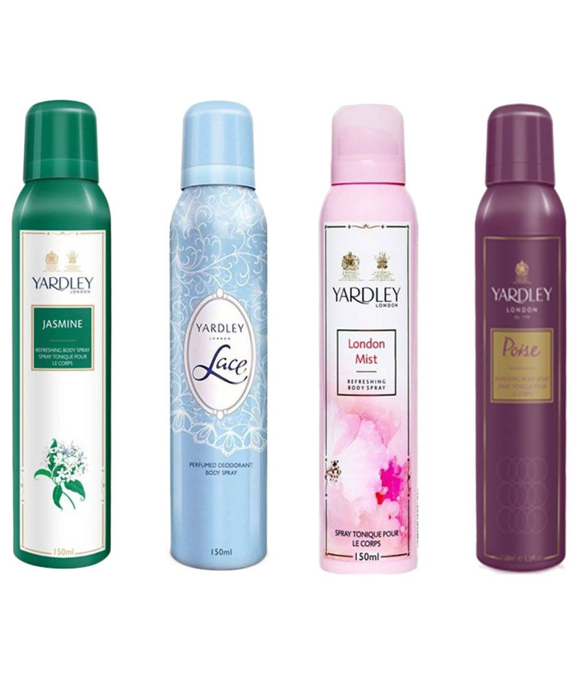 Yardley Combo of Jasmine, Lace, London Mist and Poise Deo 150 ml Each