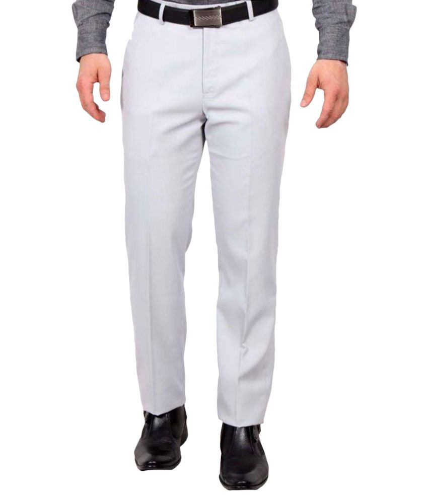 Febulous White Regular Fit Flat Trousers