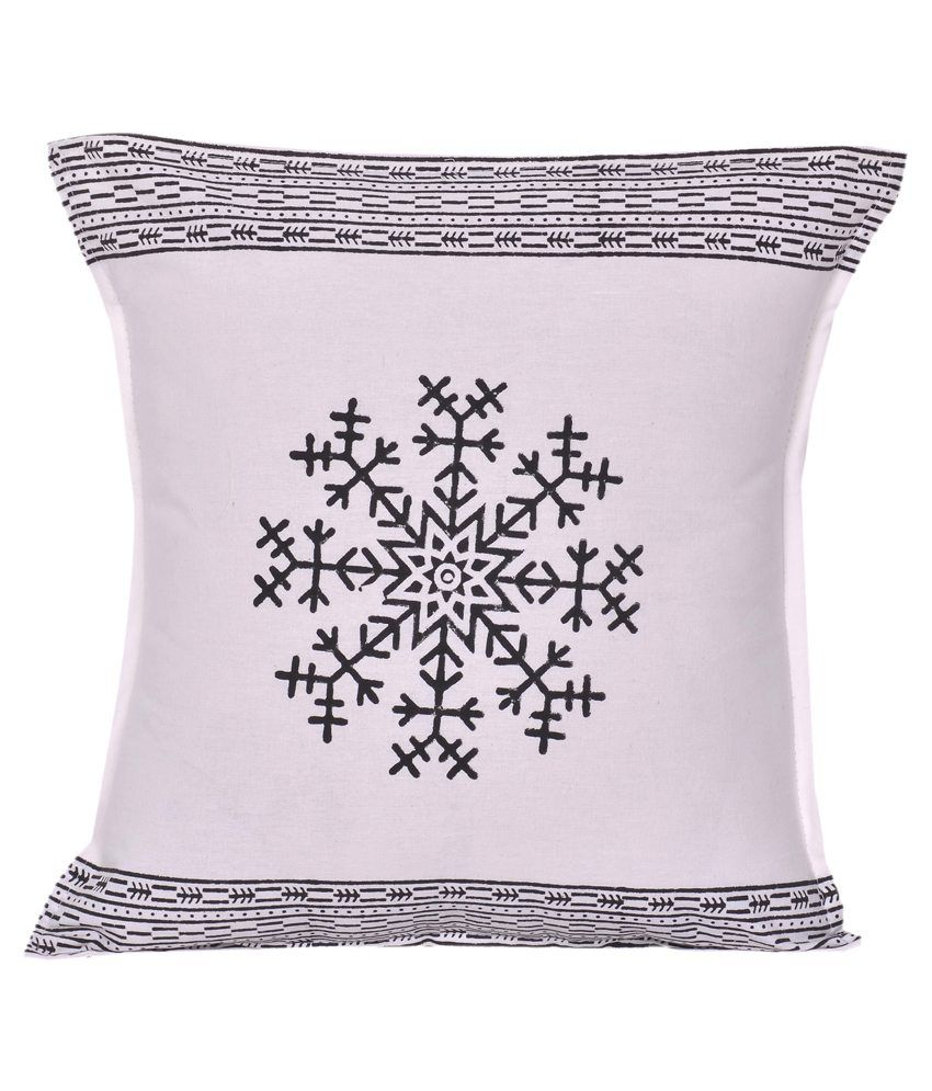 Indigenous Handicrafts White Cotton Cushion Covers- Set of 5