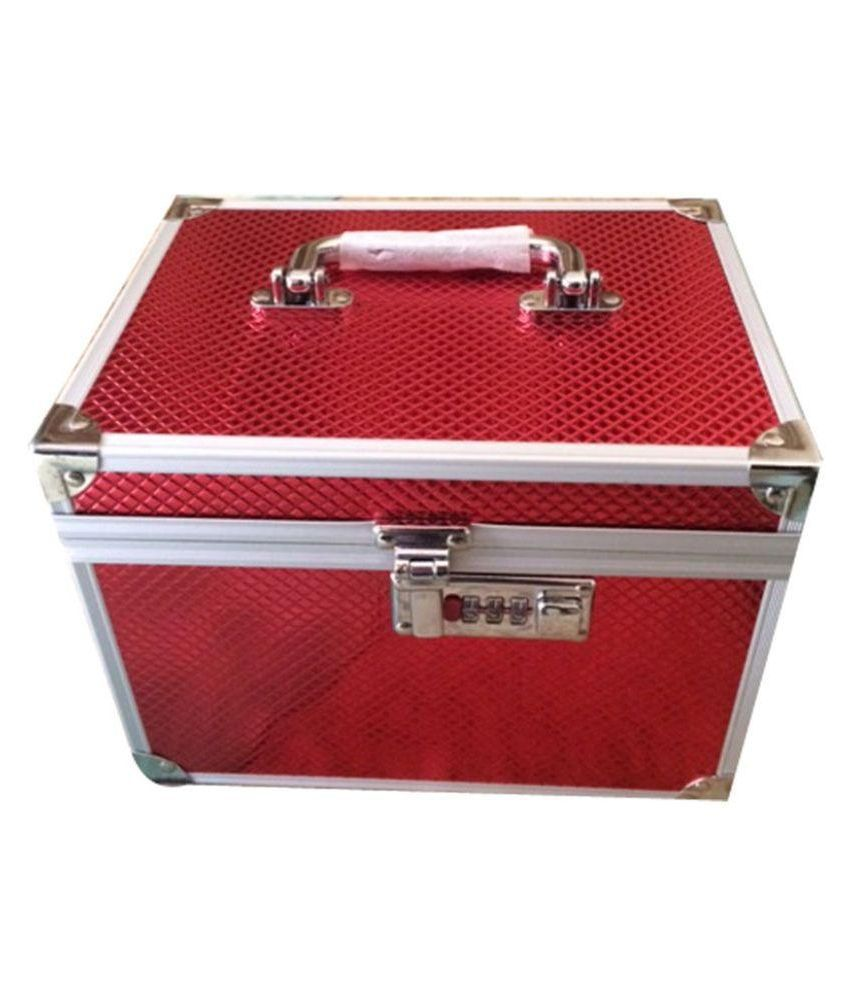 Jewel Shine Aluminum Studded Red Coloured Jewellery Box