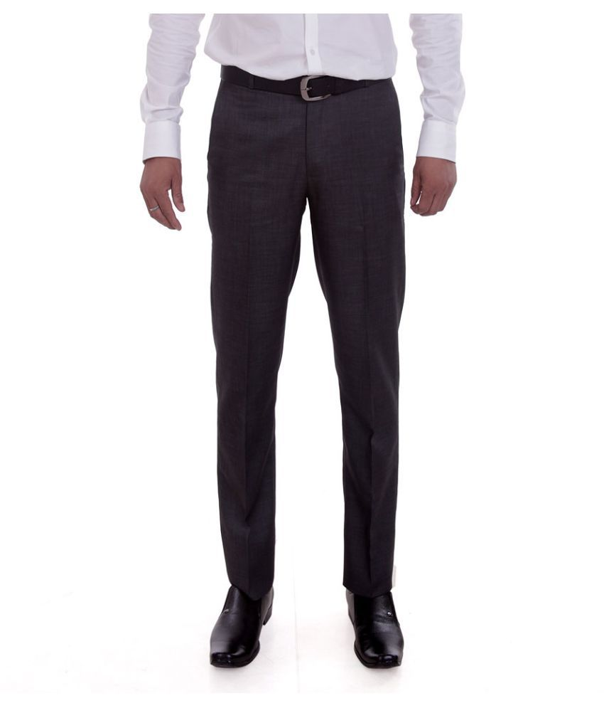 Numerics Grey Regular Fit Flat Trousers