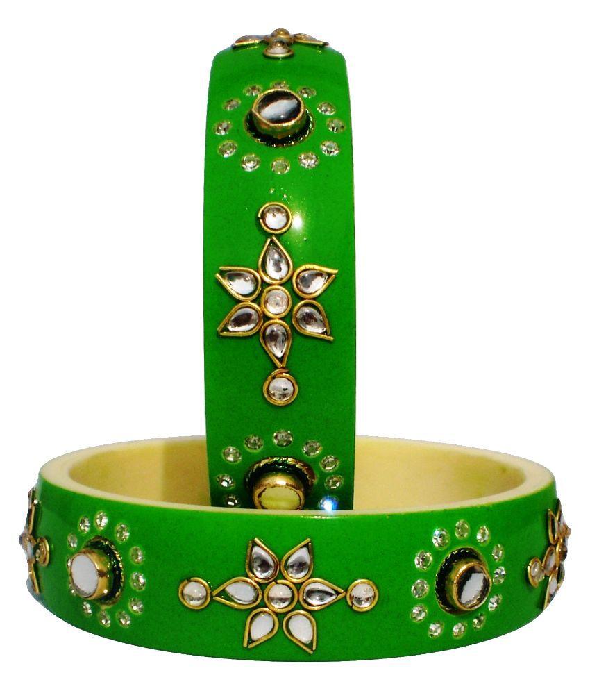Gaj Impex Acrylic Kundan/Meenakari Studded Green Coloured Bangle Set