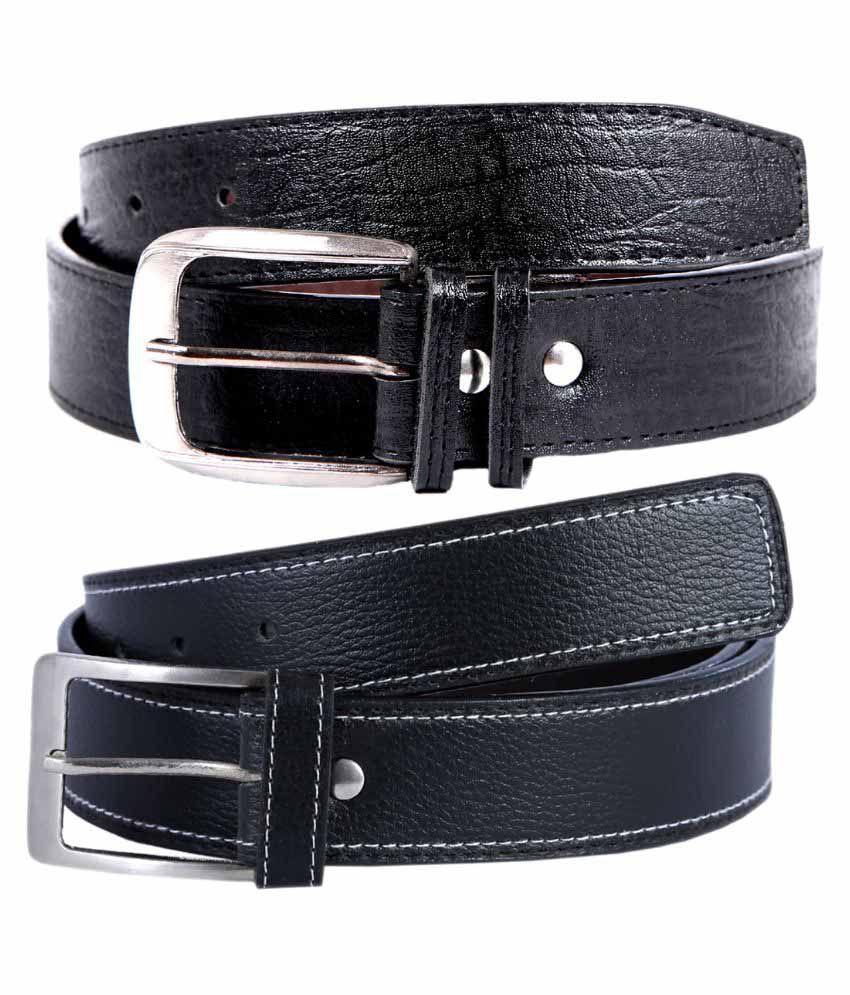 Hardy's Collection Black Formal Belt for Men - Pack of 2