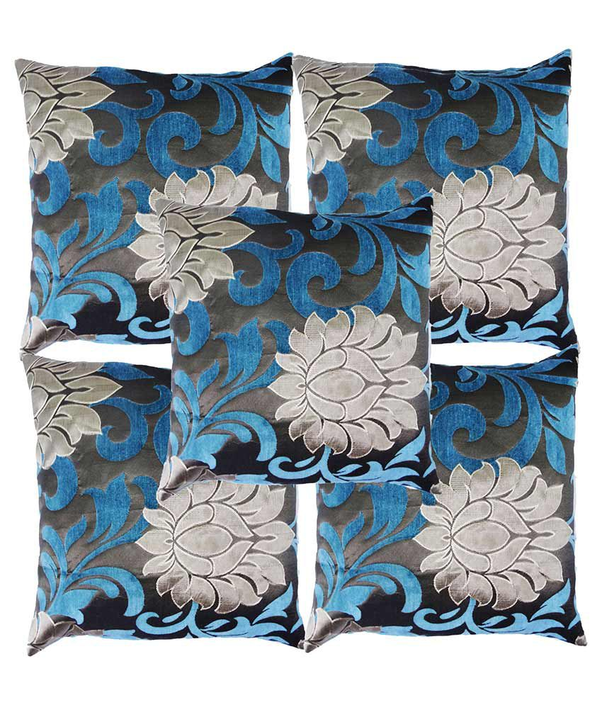 HomeTexBazar Multicolour Natural Cotton Cushion Cover - Set of 5
