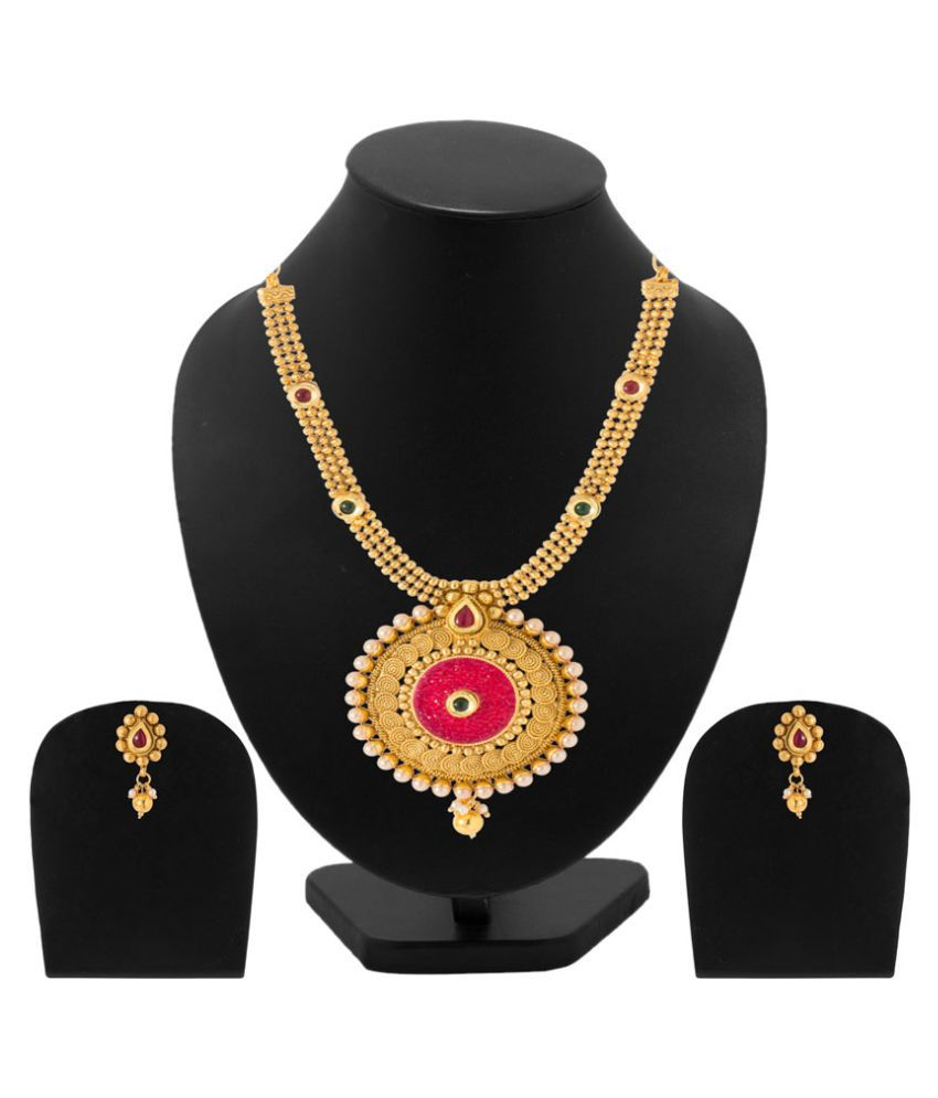 Voylla Alloy Gold Plating Studded Gold Coloured Necklaces Set