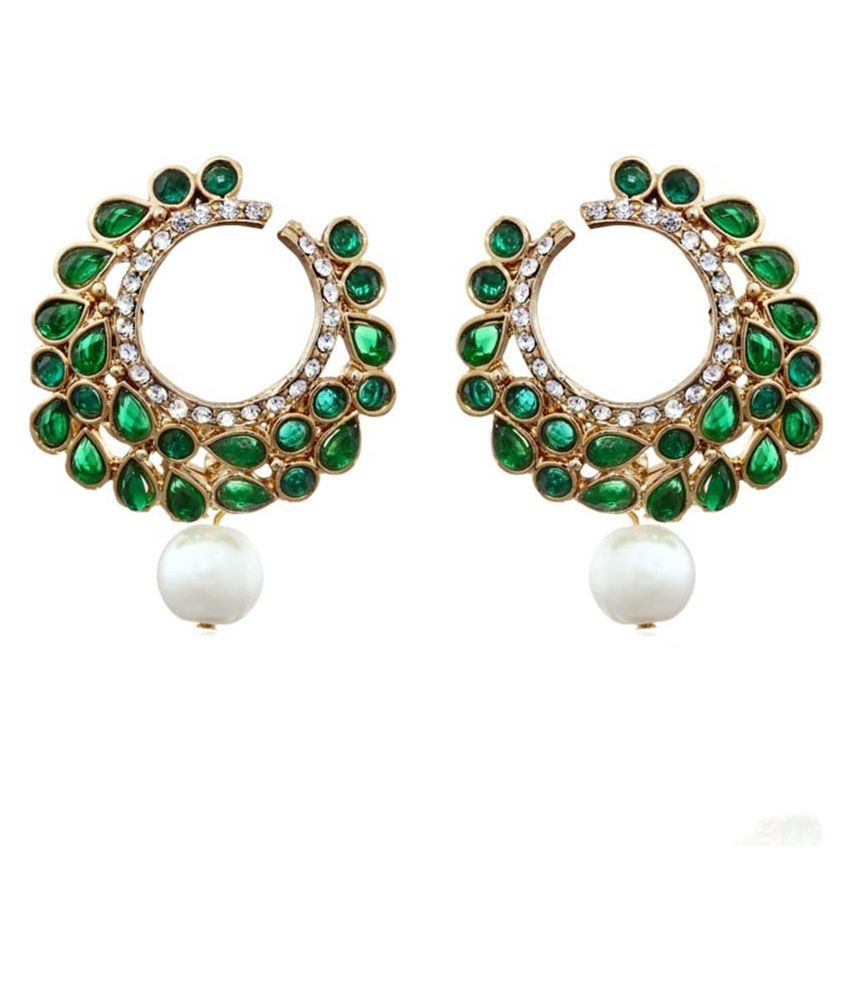 Zaveri Pearls Green Dangler Earrings