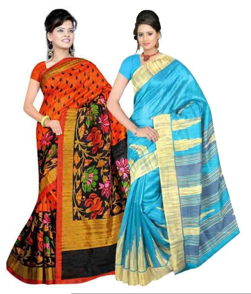 Kamdhenu Fabrics Multi Color Cotton Saree Combos