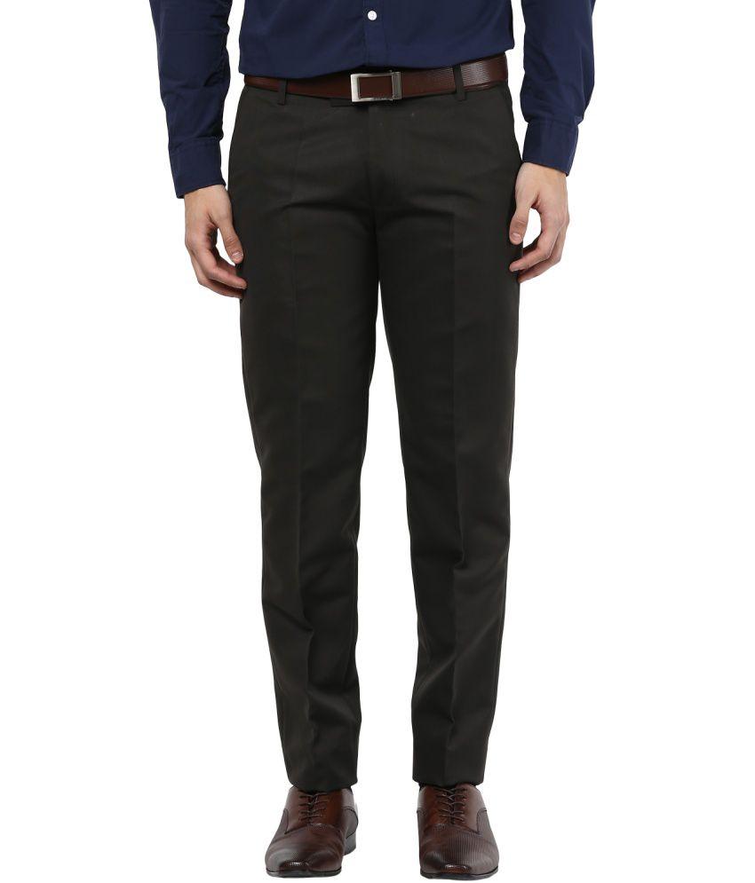 Bukkl Olive Slim Fit Formal Trouser