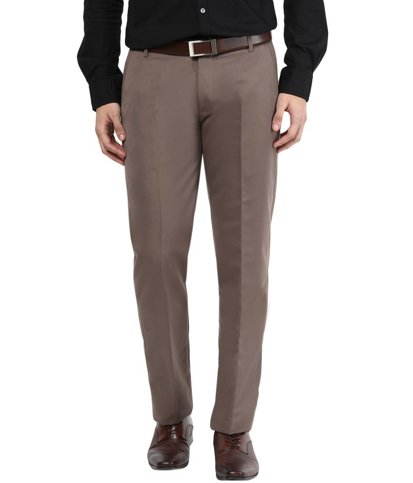 Bukkl Brown Regular Fit Flat Trousers
