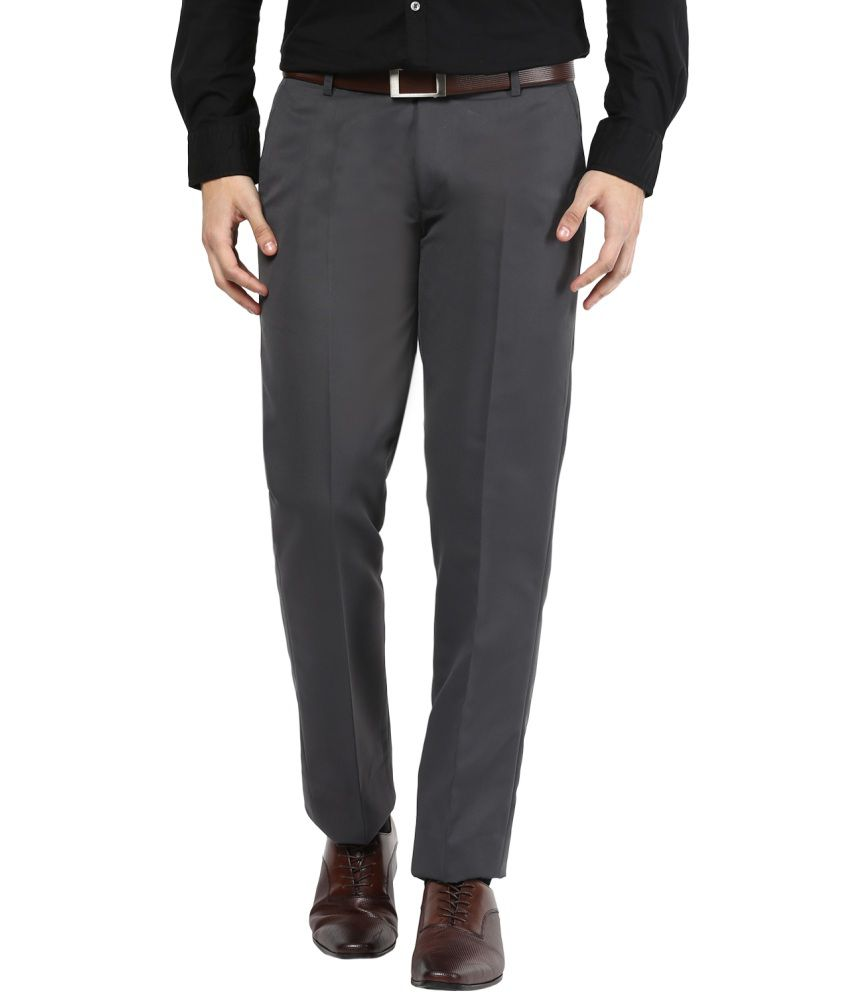 Bukkl Grey Slim Fit Flat Trousers