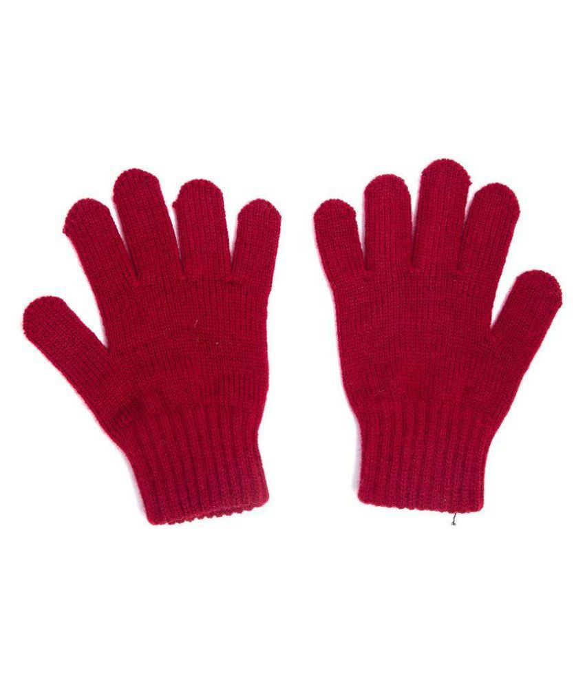 Unique Hiver Pure Woolen Gloves - Red: Buy Online at Low Price in India  QF58