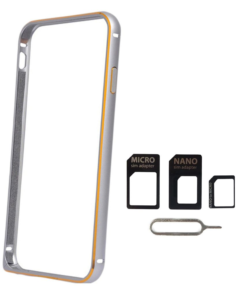 Avzax Bumper Cover For Xiaomi Mi 4i (Silver) + Sim Card Adapter