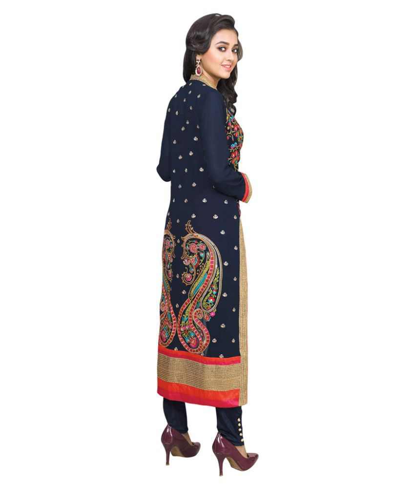 517f40b7a9 ... Varayu Blue Georgette Pakistani Suits Semi Stitched Dress Material.  Hover to zoom