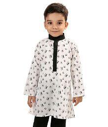 Raghav White Cotton Kurta
