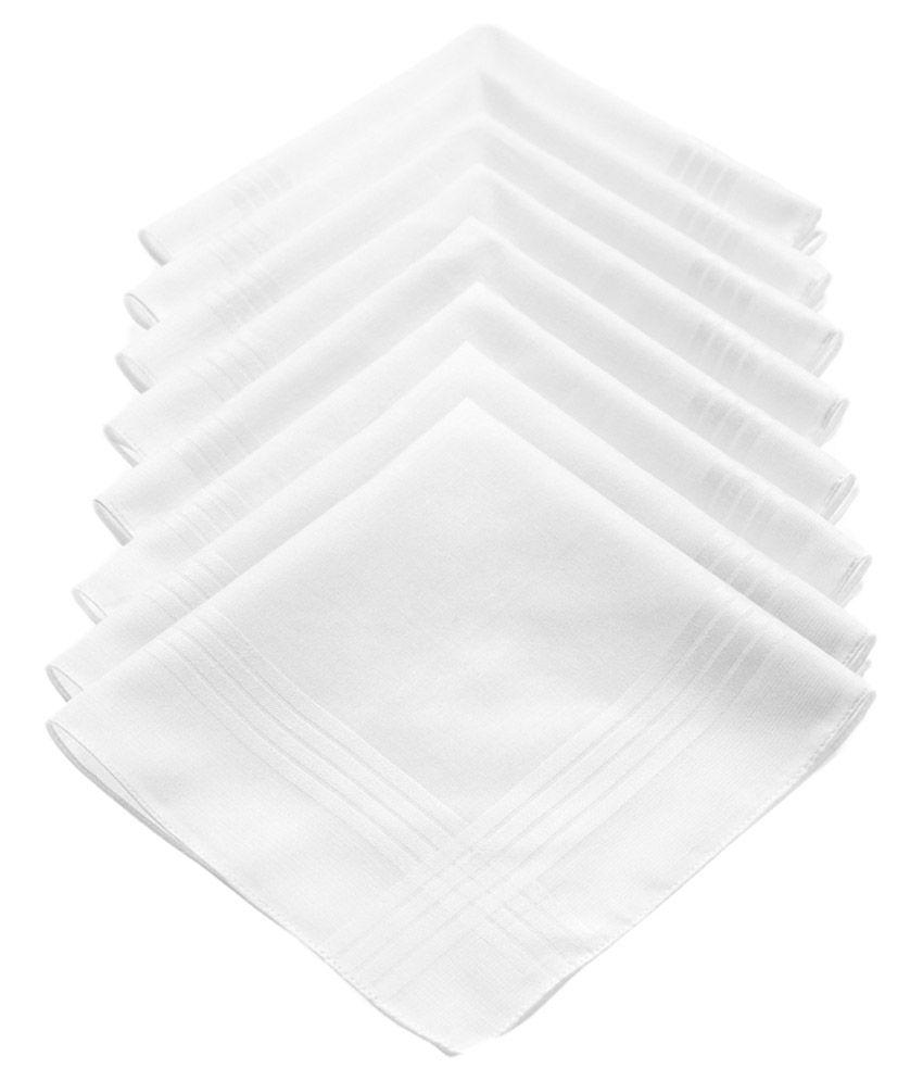 Juvenile White Cotton Handkerchief for Men - Pack of 8