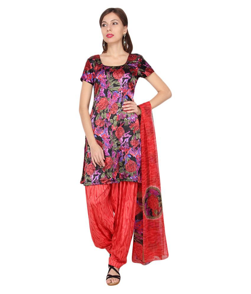 738d5033352 Shah Fabrics Multicoloured Crepe Straight Unstitched Dress Material  available at SnapDeal for Rs.479
