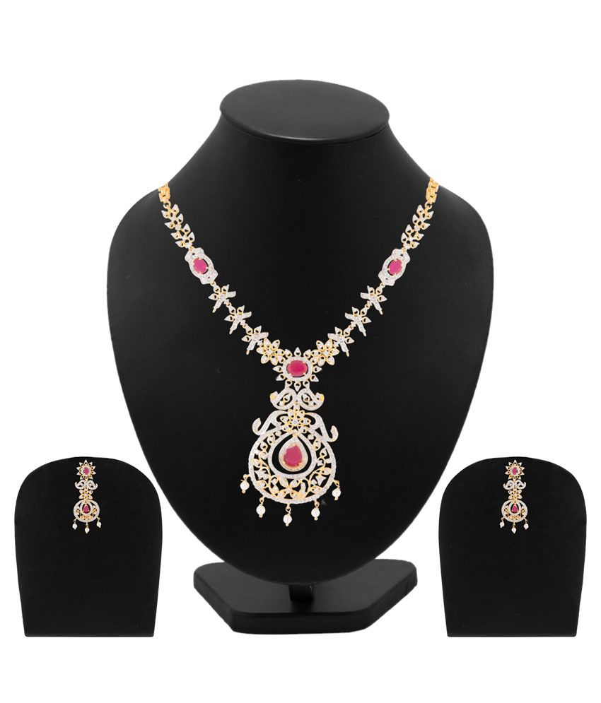 Voylla Alloy Gold Plating Studded Multi Coloured Necklaces Set